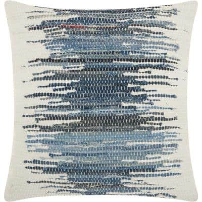 Life Styles Denim Square Abstract Polyester 20 in. x 20 in. Throw Pillow