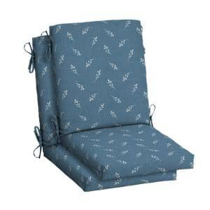 20 in. x 20 in. Blue Ditsy Floral High Back Outdoor Dining Chair Cushion (2-Pack)