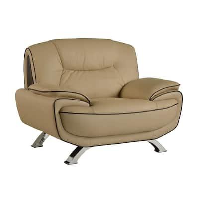 Charlie Sleek Beige Leather Chair