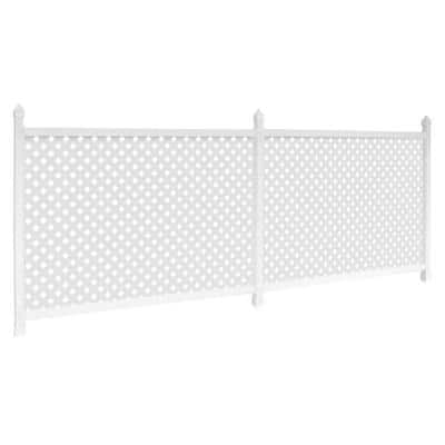 3 ft. x 56 ft. White Vinyl Plastic Lattice Fence Panel/Enclosure Kit Soft Surface (Anchor Stakes)