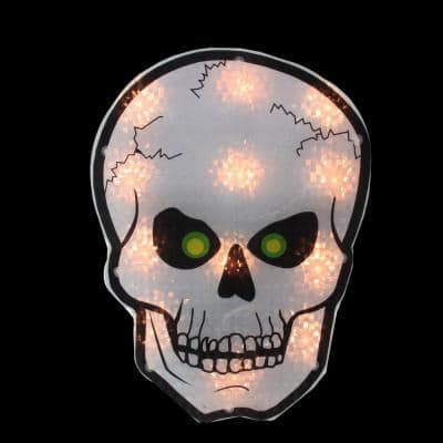 12 in. Silver and Black Holographic Lighted Skull Halloween Window Silhouette Decoration