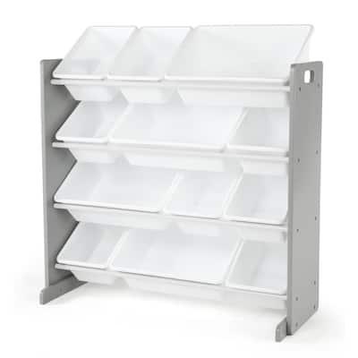 Inspire Collection Grey/White Kids Wood Toy Storage Organizer with 12-Plastic Bins