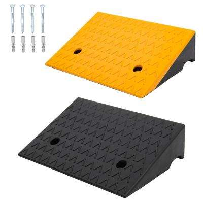2-Pieces Rubber Car Curb Ramps, Black and Yellow