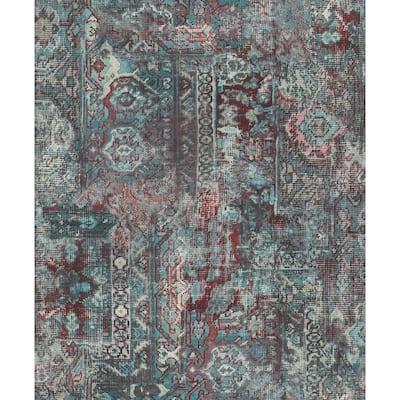 Hamadan Teal Textile Wallpaper