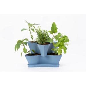 Collins Medium 16 in. 2-Tier Denim Blue Modular Multi-Level Vertical Herb Planter
