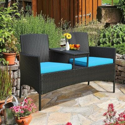 3-Piece Rattan Wicker Patio Conversation Set with Loveseat Table and Turquoise Cushions