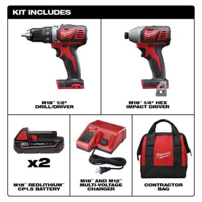 M18 18-Volt Lithium-Ion Cordless Drill Driver/Impact Driver Combo Kit w/ Two 1.5Ah Batteries, Charger Tool Bag (2-Tool)