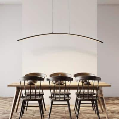 Roxanna 41.5 in. Dimmable Adjustable Integrated LED Black Metal Linear Pendant