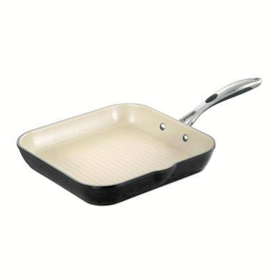 Gourmet Ceramica Deluxe 11.7 in. Aluminum Ceramic Nonstick Grill Pan in Metallic Black