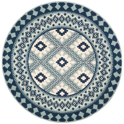 Veranda Ivory/Blue 3 ft. x 3 ft. Aztec Geometric Indoor/Outdoor Round Area Rug
