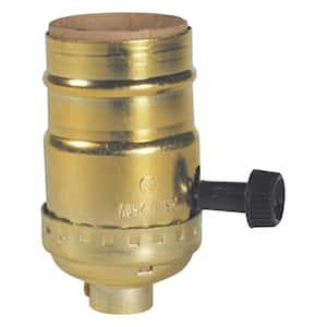 2-3/4 in. 3-Way Brass Turn Knob Lamp Socket