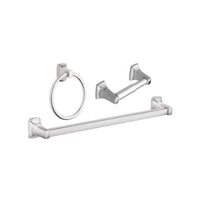 Adler 3-Piece Bath Hardware Set with Adjustable 18 - 24 in. Towel Bar in Chrome