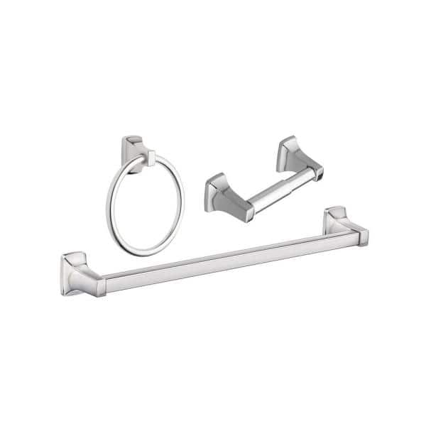 Moen Adler 3 Piece Bath Hardware Set With Adjustable 18 24 In Towel Bar In Chrome Yb0193ch The Home Depot