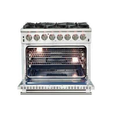 Capriasca 36 in. 5.36 cu. ft. Gas Range with 5-Gas Burners and Electric 240-Volt Oven in Stainless Steel