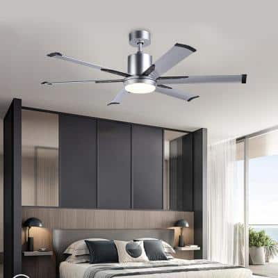52 in. LED Silver Ceiling Fan with Light Kit and Remote Control