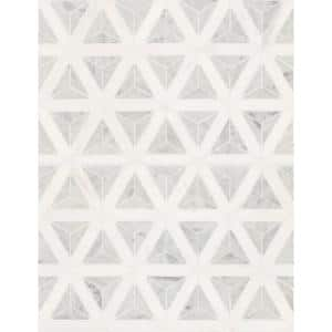 Carrara White Faceted 12 in. x 9.26 in. x 10mm Polished Marble Mesh-Mounted Mosaic Tile (7.70 sq. ft. / case)