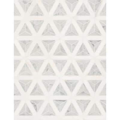 Carrara White Faceted 12 in. x 9.26 in. x 10 mm Polished Marble Mosaic Tile (7.70 sq. ft. / case)