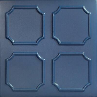 Bostonian 1.6 ft. x 1.6 ft. Glue Up Foam Ceiling Tile in Van Deusen Blue