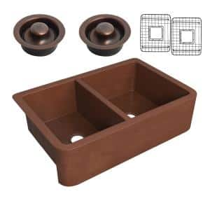 Silesian Copper 33 in. 50/50 Double Bowl Farmhouse Kitchen Sink with Grape Vine Design in Hammered Antique Copper