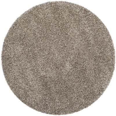 Milan Shag Gray 3 ft. x 3 ft. Round Solid Area Rug