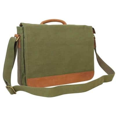 16.5 in. Casual Canvas Laptop Messenger Bag with 14.5 in. Laptop Compartment. Green