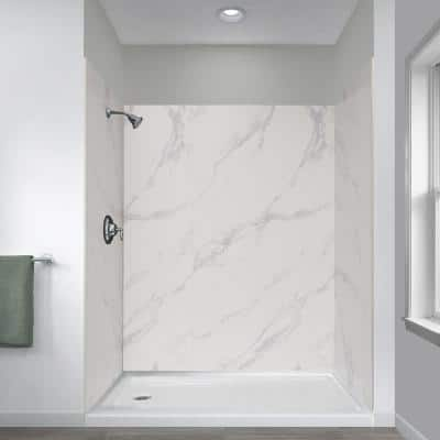 Jetcoat 32 in. x 60 in. x 78 in. 5-Piece Shower Kit in Carrara White with Left Drain 30 in. Base in White