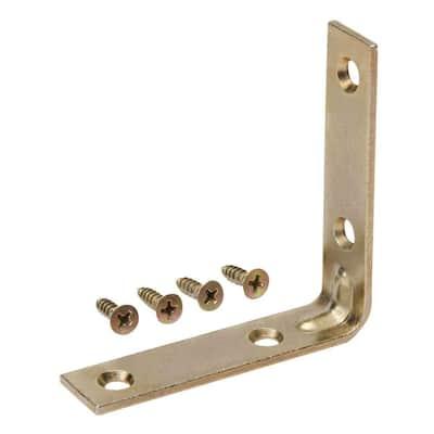 3 in. Satin Brass Corner Brace (8-Pack)