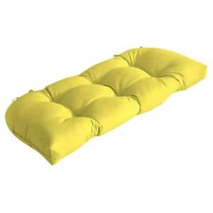 Rectangle Outdoor Wicker Settee Cushion in Lemon Leala Texture