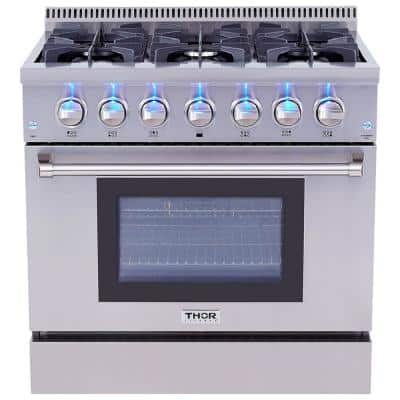 Pre-Converted Propane 36 in. 5.2 cu. ft. Dual Fuel Range Oven in Stainless Steel