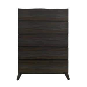 Tahoe 5-Drawer Umber Grey Chest of Drawers 54 in. H x 40 in. W x 18 in. D