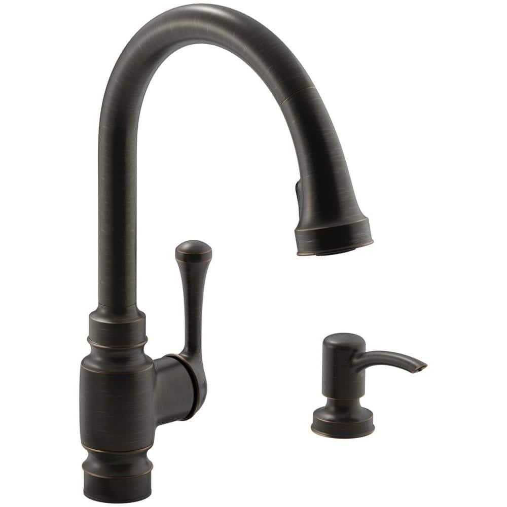 Kohler Carmichael Single Handle Pull Down Sprayer Kitchen Faucet In Oil Rubbed Bronze K R72512 Sd 2bz The Home Depot