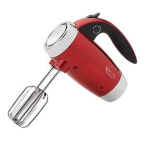 7-Speed Red Hand Mixer with Mini Stand