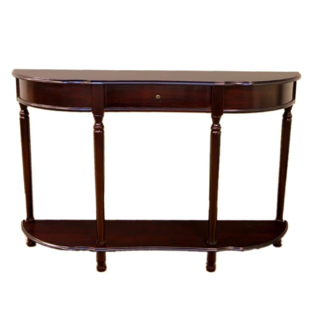 Homecraft Furniture 48 In Espresso Standard Half Moon Wood Console Table With Drawer Mh159 The Home Depot