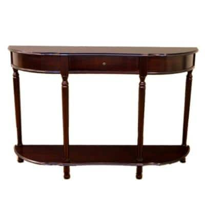 48 in. Espresso Standard Half Moon Wood Console Table with Drawer