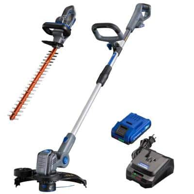 20-Volt Cordless String Trimmer/Edger and Hedge Trimmer Combo Kit (2-Tool) 2 Ah Battery and Rapid Charger Included