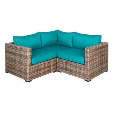 Muirwood 3-Piece Wicker Outdoor Patio Conversation Set with Blue Cushions