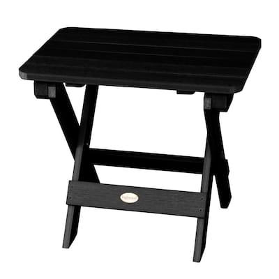 Adirondack Black Rectangular Recycled Plastic Outdoor Folding Side Table