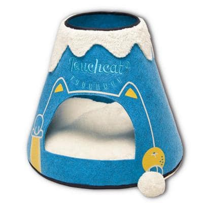Blue and White Molten Lava Designer Triangular Cat Pet Kitty House Bed