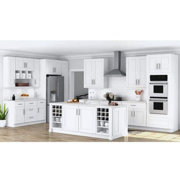 Hampton Bay Shaker Satin White Stock Assembled Wall Kitchen Cabinet 30 In X 42 In X 12 In Kw3042 Ssw The Home Depot