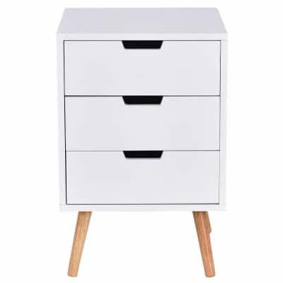15 in. L x 15 in. W x 24 in. H 3-Drawer White Nightstand Side End Table Mid-Century Accent Wood Furniture