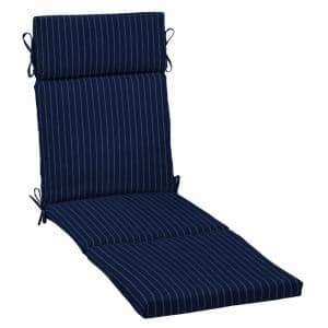 21 in. x 29.5 in. Outdoor Chaise Lounge Cushion in Navy Woven Stripe