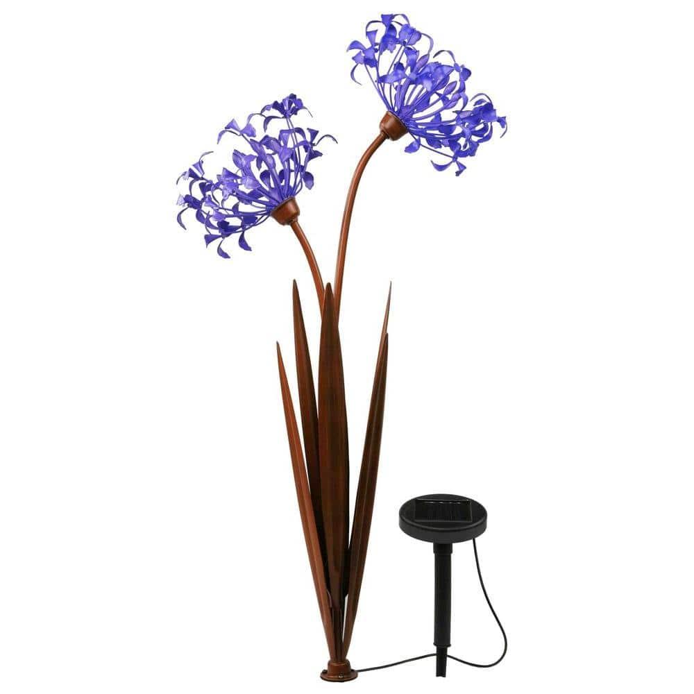LED Solar Violet Flower Stake Lights Outdoor Garden Landscape Lawn Pathway Lamp