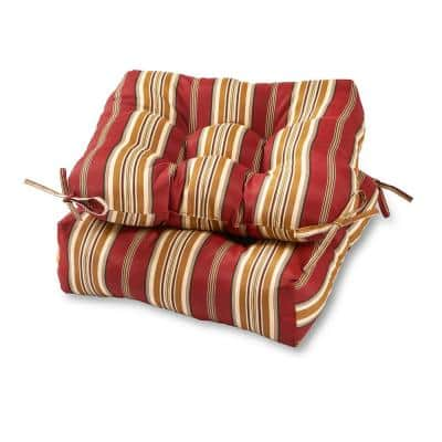 Roma Stripe Square Tufted Outdoor Seat Cushion (2-Set)