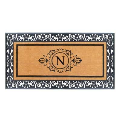 A1HC Floral Border Paisley Black 30 in. x 60 in. Rubber and Coir Monogrammed N Door Mat