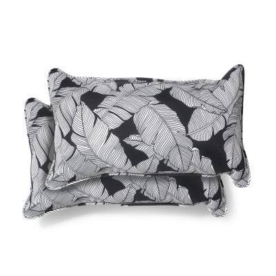 20 in. x 12 in. Carano Shadow Outdoor Lumbar Pillow (2 Pack)