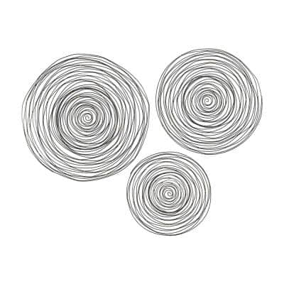 Triskele 24 in., 20 in. and 16 in. Round Raw Iron Spiral Wall Art (3-Piece)