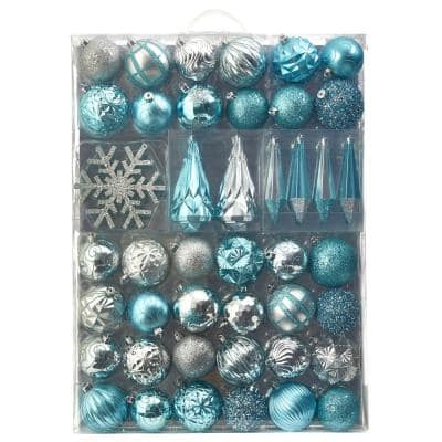 Turquoise and Pearl Christmas Holiday Winter Ornaments set of 6