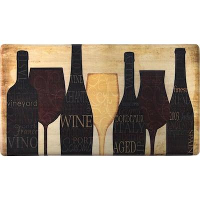 Wine Silhouette 20 in. x 36 in. Anti-Fatigue Kitchen Mat