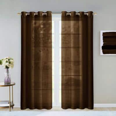 Chocolate Extra Wide Grommet Sheer Curtain - 55 in. W x 84 in. L