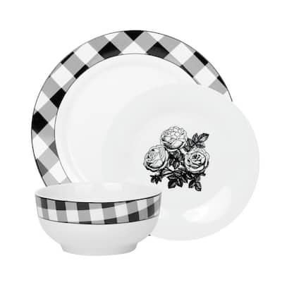 12-Piece Damier White and Black Porcelain Dinnerware Set (Service for 4)